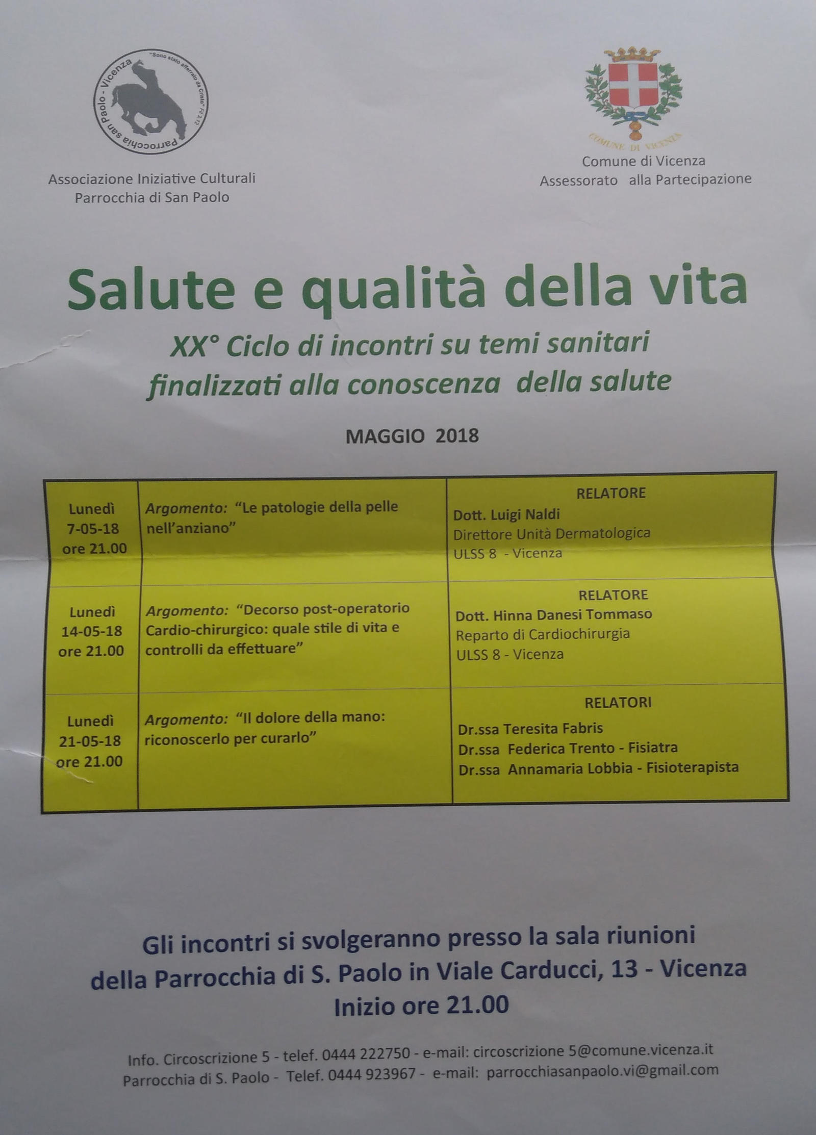 Ciclo di Incontri San Marco Vicenza